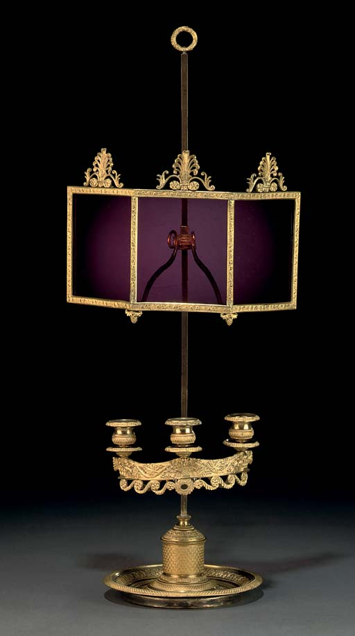 A RUSSIAN ORMOLU AND RED-GLASS