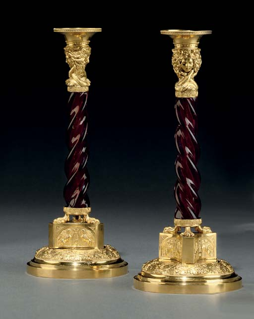 A PAIR OF RUSSIAN ORMOLU AND R