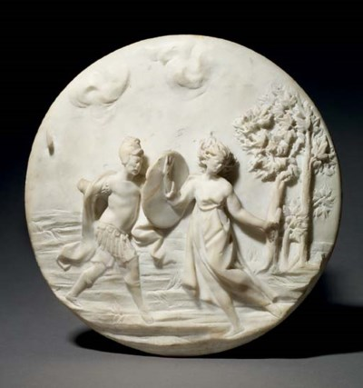 A CIRCULAR CARVED MARBLE RELIE