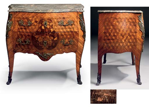 A LOUIS XV ORMOLU-MOUNTED KINGWOOD, TULIPWOOD AND MARQUETRY COMMODE