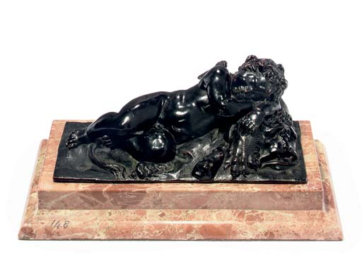 A BRONZE FIGURE OF CUPID SLEEP