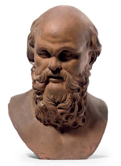 A TERRACOTTA BUST OF SOCRATES