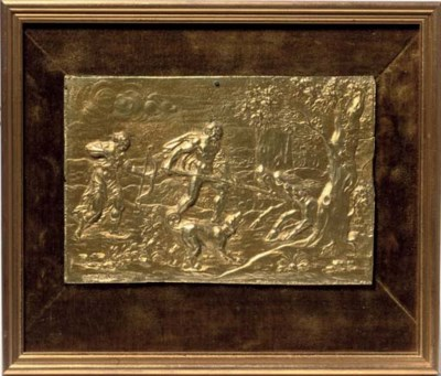 A RECTANGULAR GILT-BRONZE RELI