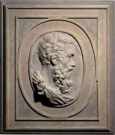 A CARVED OVAL PORTRAIT PROFILE