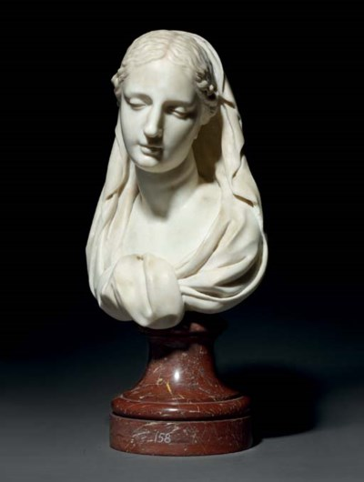 A CARVED MARBLE BUST OF THE VI