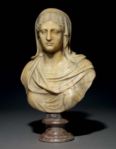 A CARVED ONYX BUST OF A CLASSI