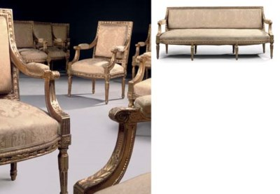 A SUITE OF LOUIS XVIII GILT-WA