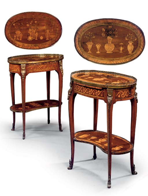 A NEAR PAIR OF LATE LOUIS XV ORMOLU-MOUNTED CROSSBANDED MARQUETRY TABLES A ECRIRE