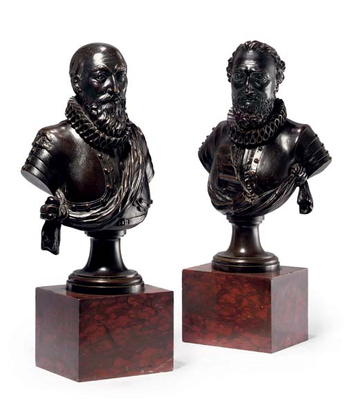 A PAIR OF BRONZE BUSTS OF HENR