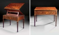 A GERMAN BRASS-INLAID AND ORMOLU-MOUNTED MAHOGANY ARCHITECT'S TABLE