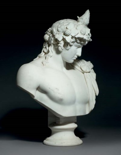 A CARVED MARBLE BUST OF ANTINO