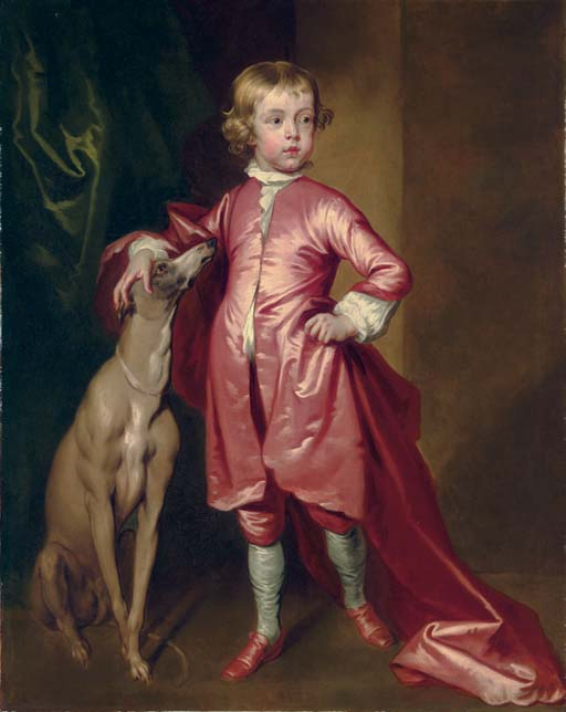 Portrait of a boy, full-length, in pink, with a greyhound, in an interior