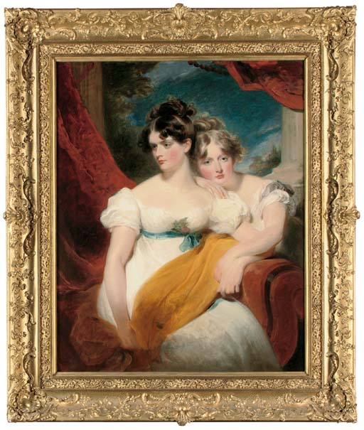 Double portrait of Marianne Anna Maria Gooch (d. 1855) and Charlotte Matilda Gooch (d. 1852), three-quarter-length, one seated in a white dress with a blue sash and a yellow shawl across her lap, the other kneeling beside in a white dress, a red curtain and landscape beyond