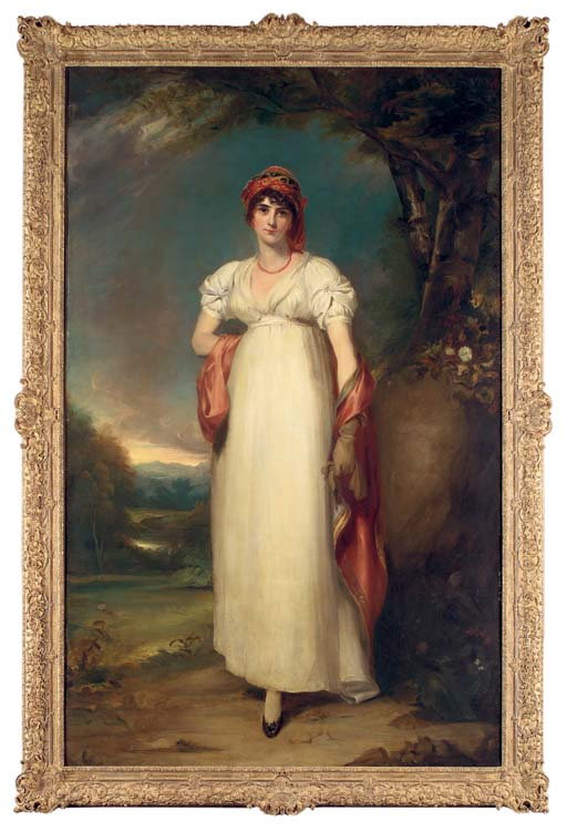 Portrait of Mrs John Halkett (d. 1805), full-length,  in a white dress, with an embroidered headdress and shawl, in an extensive landscape