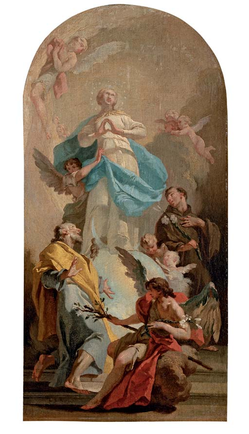 The Immaculate Conception with Saints Joseph and Anthony, in a painted arched top