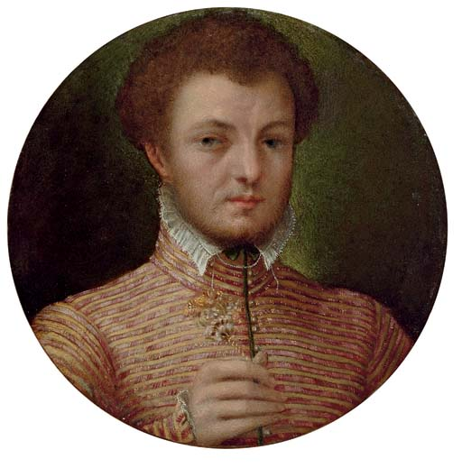 Portrait of a gentleman, bust-length, in a red and yellow brocade jacket, with a lace collar