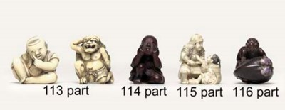 Eight wood and ivory netsuke