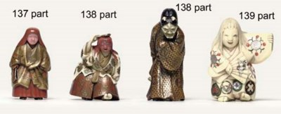 Two ivory and lacquer netsuke