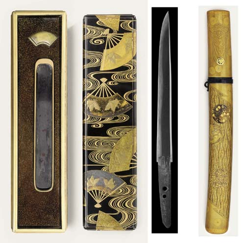 An Aikuchi tanto and associated lacquer boxes