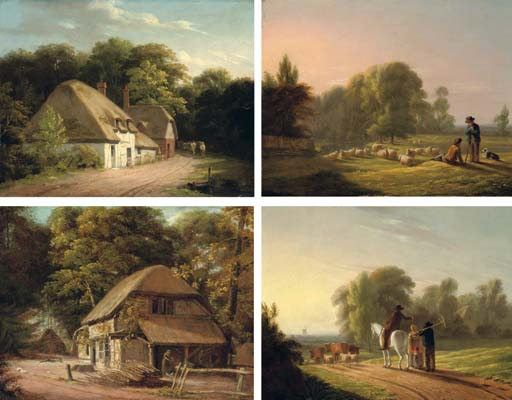 SHEPHERDS IN A LANDSCAPE WITH THEIR FLOCKS; EVENING LANDSCAPE WITH A DROVER AND HIS CATTLE; A DROVER PASSING A COTTAGE IN A LANDSCAPE; AND LANDSCAPE WITH FARM COTTAGES