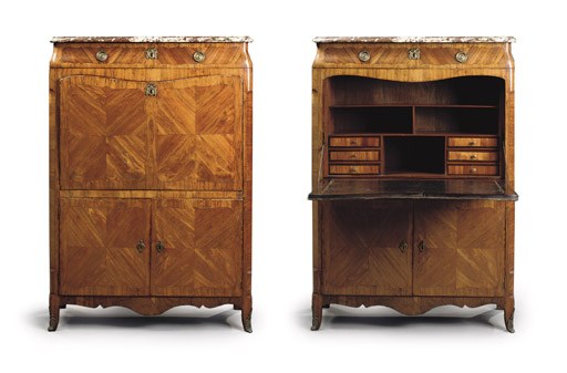 A LOUIS XV ORMOLU-MOUNTED TULIPWOOD AND ROSEWOOD SECRETAIRE A ABATTANT