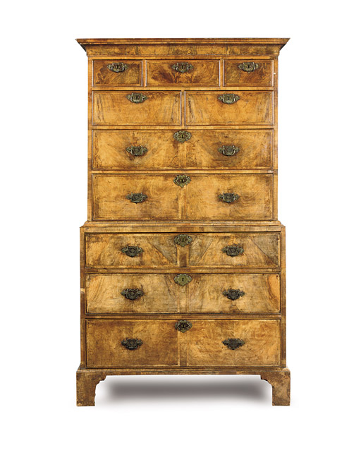 A GEORGE I WALNUT CHEST-ON-CHE