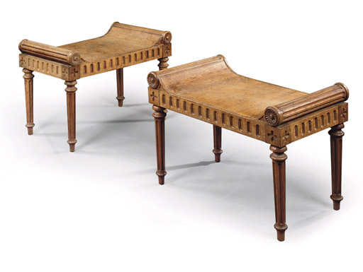 A PAIR OF WILLIAM IV OAK STOOL