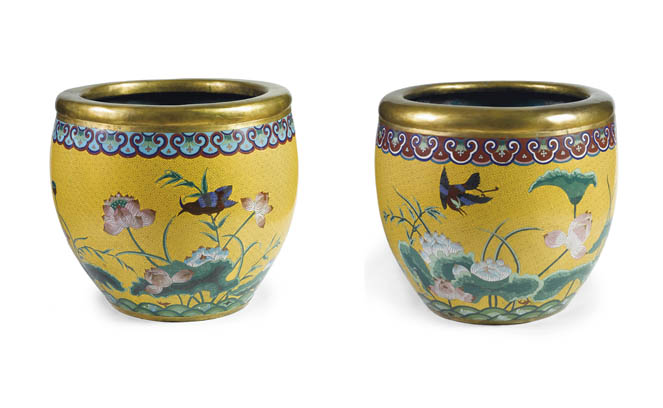 A PAIR OF CHINESE CLOISONNE JA