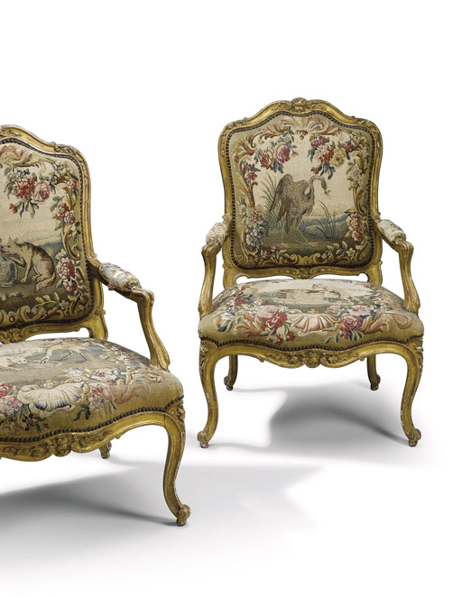 A SET OF FIVE FRENCH GILTWOOD