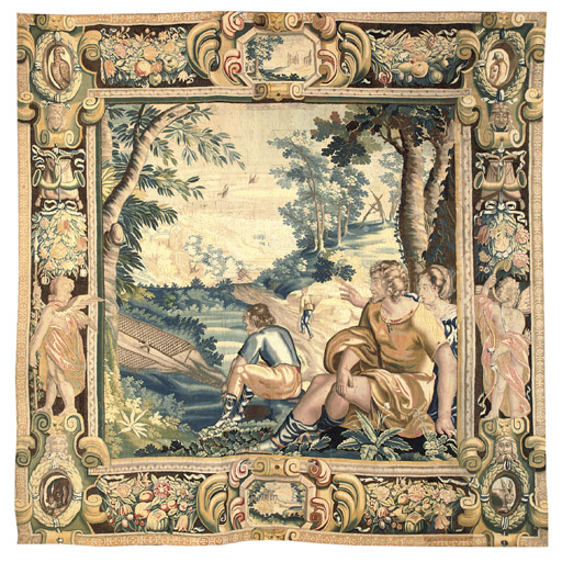 A FRENCH PASTORAL TAPESTRY DEP