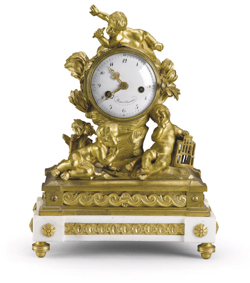 A SWISS ORMOLU AND WHITE MARBL