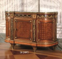 A FINE PAIR OF LOUIS XVI STYLE ORMOLU-MOUNTED AMARANTH, MAHOGANY AND PARQUETRY SIDE-CABINETS