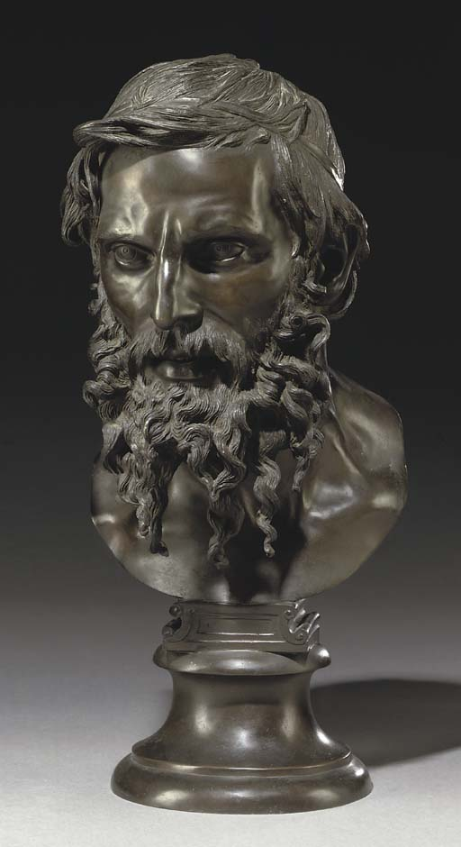 AN ITALIAN BRONZE BUST ENTITLED 'IL FILOSOFO'
