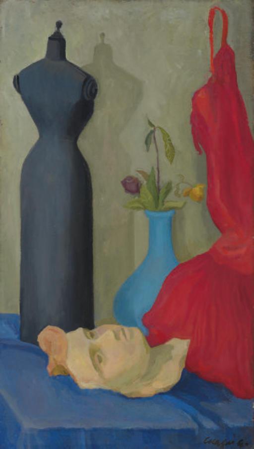 Natura morta con manichino, maschera e abito rosso (recto); donna in abito da sera (verso)