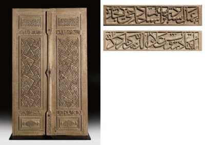 A PAIR OF TIMURID CARVED WOODE