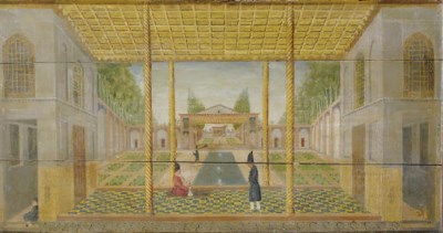 AN OPEN COURTYARD AND INTERIOR