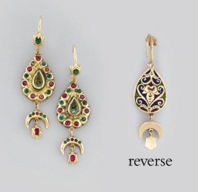 A PAIR OF MOROCCAN EMERALD AND