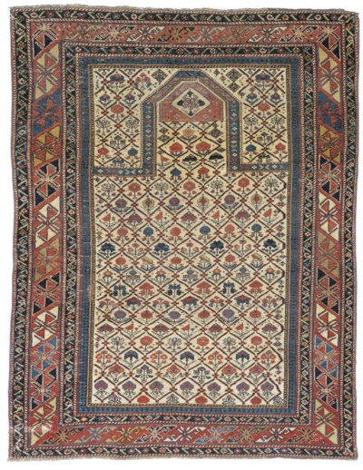A PART-SILK SHIRVAN PRAYER RUG