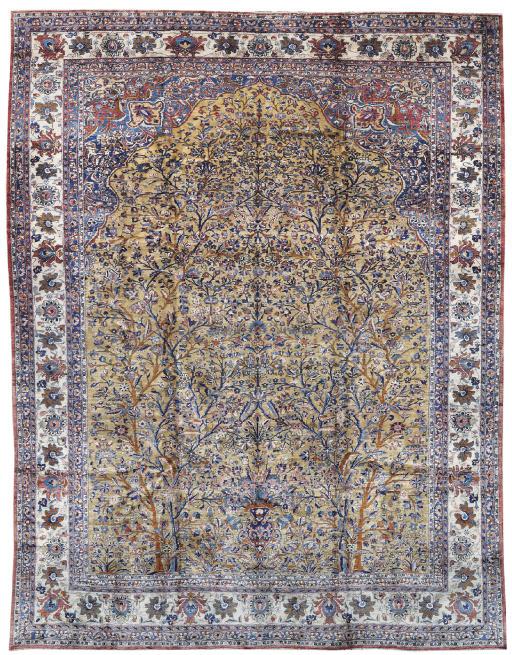 A SILK KASHAN PRAYER CARPET