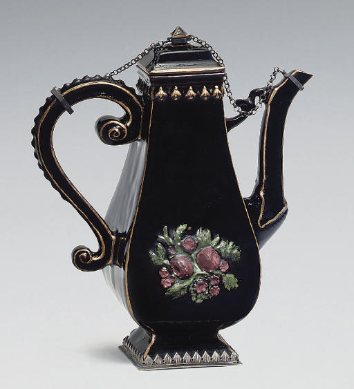 A BÖTTGER BLACK GLAZED RED STONEWARE SILVER-MOUNTED BALUSTER COFFEE-POT AND COVER