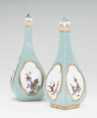 A PAIR OF MEISSEN SELADON-GROUND SAKE-BOTTLES AND COVERS