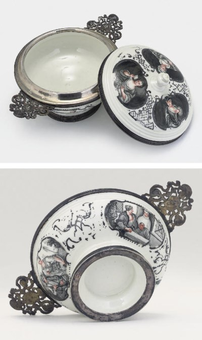 A MEISSEN SILVER-MOUNTED TWO-H