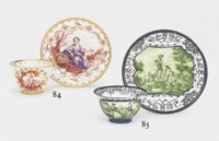 A MEISSEN HAUSMALEREI TEABOWL AND SAUCER EMBLEMATIC OF THE FOUR SEASONS