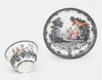 A MEISSEN HAUSMALEREI TEABOWL AND SAUCER