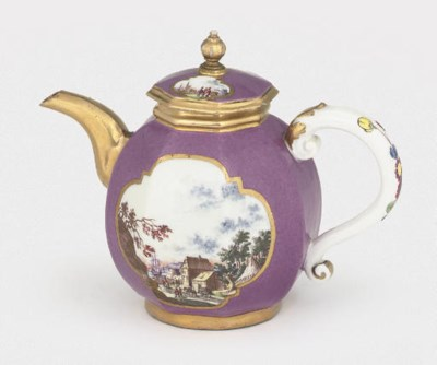 A MEISSEN PURPLE-GROUND OVIFOR