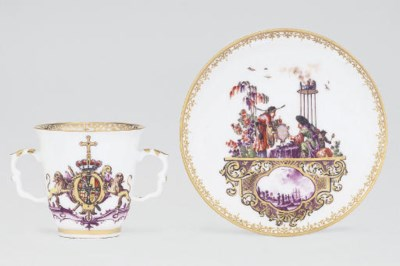 A MEISSEN ARMORIAL DATED TWO-H