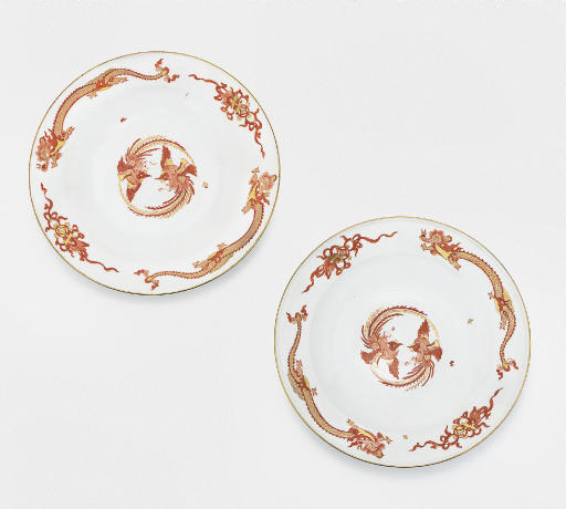 A PAIR OF MEISSEN RED DRAGON-P