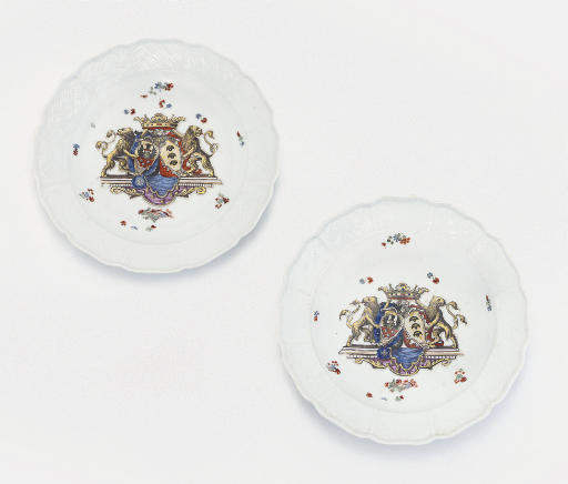 A PAIR OF MEISSEN LOBED ARMORI