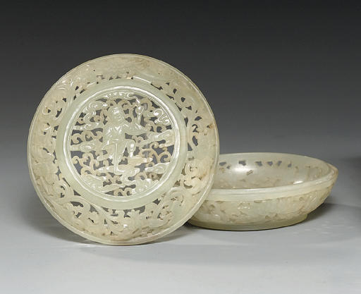 A CELADON JADE PIERCED BOX AND