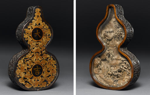 A ZITAN CARVED DOUBLE-GOURD DI